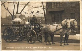 Harrisburg (Pennsylvania), Citizen Fire Co. No. 3. Firefighter with horse-drawn fire engine (small tear)