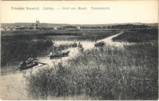 Ruszt, Rust am Neusiedlersee; Totalansicht / látkép, nádas, csónakok. Tremmel Vilmos kiadása / general view, reeds, boats (EK)