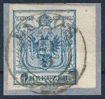 1850 9kr HP IIIb kék bélyeg 5,5 mm ívszéllel kivágáson LUGOS Certificate: Babor