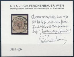 1850 6kr HP Ic tipus rozsdabarna bélyeg G: BECSKEREK Certificate: Ferchenbauer