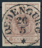1850 6kr HP Ic tipus rozsdabarna bélyeg, kiemelt sas OEDENBURG Certificate: Ferchenbauer