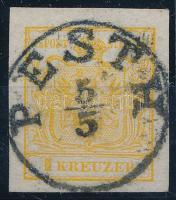 1850 1kr HP kadmiumsárga bélyeg, rácsozott papír PESTH Azonosítás: Ferchenbauer, Sign: Seitz