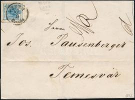 1857 9kr MP IIIb szép, óriási szélekkel távolsági levélen PESTH / Abends - Temesvár