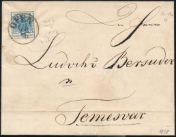 1858 9kr MP III felül kicsit bevágva / slightly cut at the top, különben szép szélekkel, az alsó keretvonalon kis lemezhibák! távolsági levélen OFEN - Temesvár