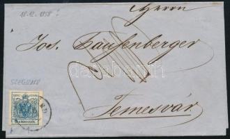 1858 9kr MP III szép szélekkel, lemezhibákkal: a bal alsó saroknál kerettörés, a sas jobb szárnyánál fehér folt, távolsági levélen, 1858.12.18-i feladási dátummal, ekkor már másfél hónapja használatban volt az újabb kiadású bélyegsor! (SZEG)ZÁRD - Temesvár