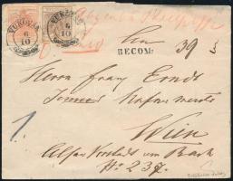 ca. 1856 3kr + 6kr MP III ajánlott, távolsági levélen (a hátoldali ajánlási bélyeg hiányzik) VUKOVÁR + RECOM - Wien. Signed: Ferchenbauer
