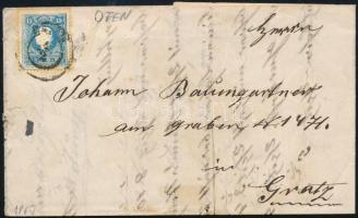 1860 15kr II centrált, távolsági levélen teljes tartalommal OFEN - Gratz
