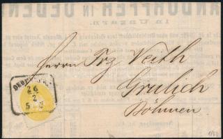 1864 2kr sárga, nyomtatványon (árlista) OEDENBURG - Grulich. Látványos, szép darab!