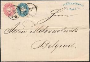 ca 1864 5kr + 10kr külföldre küldött levélen RAAB - Belgrad. Ritka desztináció!
