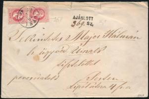 1867 5kr függőleges pár előoldalon + 10kr a hátoldalon, 2 súlyfokozatú ajánlott levél IPOLYSÁGH - Pest. Látványos darab!