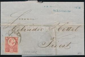1871 Réznyomat 5kr távolsági levélen tartalommal SEGESVÁR - Triest