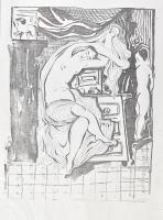 cca 1991-1995 Kádár Béla (1877-1956) festőművész kb. 72 db grafikájáról készült A4 méretű fénymásolat. Kádár Béla unokája, jogutóda, Bodó Tamás által kiállított kézzel írt, autográf aláírásával ellátott igazolással a grafikák elé helyezve külön lapon, mely szerint a (...) kiadott könyvben szereplő grafikák valamint azon grafikák melyeket most elcseréltem jelenlegi tulajdonosával a Kádár hagyatékból származnak és azok eredetiségét igazolom. Az igazolás nem részletezi, de feltehetően az 1991-ben megjelent Kádár Béla - A papír két oldala c. könyvről van szó. Több lapon Nachlass Kádár Béla hagyatéki bélyegzővel. Mappában, egyenként tasakban lefűzve.