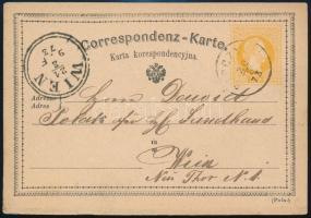 1873 Lengyelországból Bécsbe küldött héber nyelven írt levelezőlap / From Poland to Vienna Hebrew ps card
