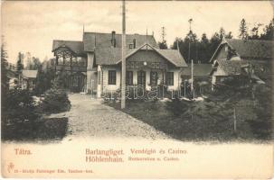 Barlangliget, Höhlenhain, Tatranská Kotlina (Magas Tátra, Vysoké Tatry); Vendéglő és kaszinó. Feitzinger Ede 85. / restaurant and casino (EK)