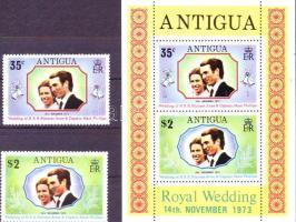 1973 Anna hercegnő nászútja Antiguán Mi 312-313 + blokk 11