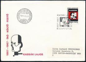 1987 Kassák Lajos vágott bélyeg FDC-n