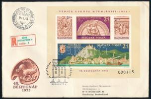 1975 Bélyegnap (48.) - Visegrádi műemlékek vágott blokk FDC-n (20.000)