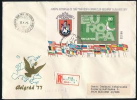1977 Európai Biztonsági és Együttműködési Értekezlet IV. vágott blokk ajánlott FDC-n (5.000)