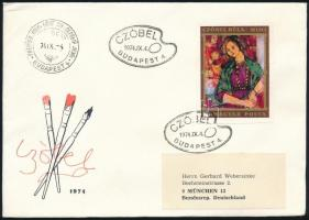 1974 Czóbel Béla I. vágott bélyeg FDC-n