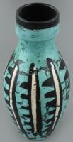 Gorka Lívia (1925 - 2011): Díszváza. Korongozott kerámia. Fekete alapon írókázott, ill. Türkiz és fehér mázakkal festett ábrázolás. Alsó peremén apró csorbák. Alján jelzett: Gorka Lívia. m: 21:cm