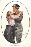 Der Flieger / WWI Austro-Hungarian K.u.K. military art postcard, pilot, aviator with lady. artist signed (fl)