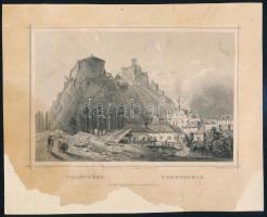 cca 1850 Ludwig Rohbock (1820-1883): Trencsén, acélmetszet, jelzett a metszeten, foltos / Steel engraving, 13×19 cm