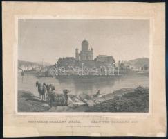 cca 1850 Ludwig Rohbock (1820-1883): Esztergom Párkány felöl, acélmetszet, jelzett a metszeten, felkasírozva, sérülésekkel / Steel engraving, 13×19 cm
