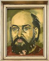 B. Séday Mária (1925-2009): Würtz Ádám (1927-1994) grafikusművész portréja . Olaj, farost, jelzett, sérült (festék lepergéssel). Sarkaiban kissé sérült, üvegezett fa keretben. 27×21,5 cm