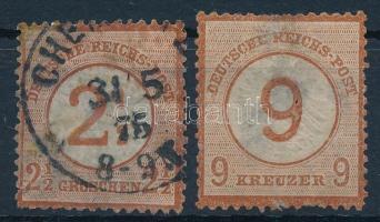Deutsches Reich 1872 2 db bélyeg papírlapon (elvékonyodás / thin paper)