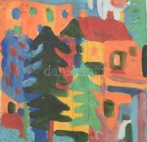 Csepeli Németh Miklós (1934-2012): Utcarészlet. Olaj, karton, kartonra kasírozva, jelzett, üvegezett fa keretben, 16×14,5 cm