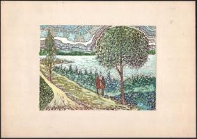 B. Hajdú László (1926-1998): Balatonvilágos. Vegyes technika, papír, jelzett. 13×18 cm