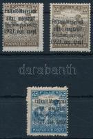 Nyugat-Magyarország I. 1921 3 db bélyeg eltérő erősségű fekete felülnyomással, mindegyik Bodor vizsgálójellel (15.300)