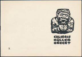 M. Kiss József (1936-1999): Ex libris Müller Róbert. Linómetszet, papír, jelzett a metszeten. Az Első Balatoni Kisgrafikai Biennálé 1971 mappából. 8,5x5,5 cm