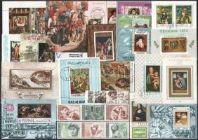 Vegyes külföldi és magyar 26 tételes blokk, kisív összeállítás festmény motívumokkal
