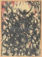 Bolmányi Ferenc (1904-1990): KUtolsó Ítélet 1970 Vegyestechnika, papír. 13x19cm, jelzett. Üvegezett fakeretben.