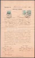 cca. 1890 -1898 (3 db) Telekkönyvi nyilvántartás, 1, 15, 20, 36 koronás okmánybélyegekkel. Egyik okmánybélyegek nélkül, sérült.