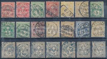 Svájc 42 régi bélyeg 2 berakólapon színváltozatokkal, bélyegzésekkel