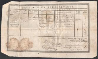Nagyvárad 1840 Iskolai bizonyítvány