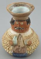 Kiss Roóz Ilona (1920-2010): Figurális váza, mázas kerámia, kézzel festett, jelzett, hibátlan, m: 14cm