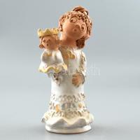 Antalfiné Szente Katalin: Kislány királylány babával, színes kerámia, hibátlan, jelzett, m: 21cm