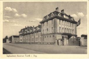 1941 Fürth, Infanterie-Kaserne / WWII German military barracks, guard, NSDAP Nazi Party propaganda, swastika flag (EK)