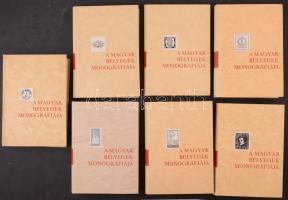 A magyar bélyegek monográfiája I-VII. sorozat jó állapotban, ebből hat kötet karton tokban, az egész dobozban.