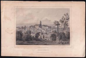 cca 1850 Ludwig Rohbock (1820-1883): Keszthely, acélmetszet, jelzett a metszeten, foltos / Steel engraving, 14×19 cm