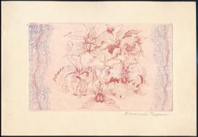 Ábrahám Rafael (1929-2014): Virágok - kiállítási meghívón. Rézkarc, papír, jelzett. 10x17 cm