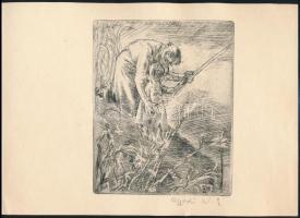Aszódi Weil Erzsébet (1901-1976): Horgászok -kiállítási meghívón. Rézkarc, papír, jelzett. 13,5x11 cm