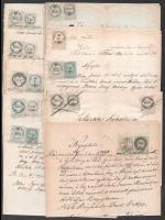 1862-1873 Révafalu (Győr), 10 db régi levél különböző okmánybélyeg-variációkkal