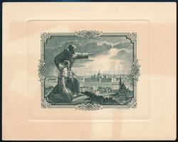 Horváth Endre (1896-1954): Szerzetesek lenéznek Budapestre. Rézkarc, papír, jelzett, 9,5×11,5 cm