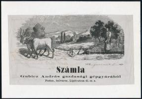 cca 1864-1930 Mezőgazdasági gépgyár témájú számlák, levelezőlapok, 3 db