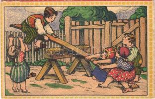 1920 Children art postcard, seesaw. Salon International D.K. & Co. P. 2238. s: A. Kloubek-Schrutz (EK)