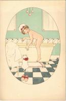 Children art postcard, bathing. M. Munk Vienne Nr. 905. artist signed